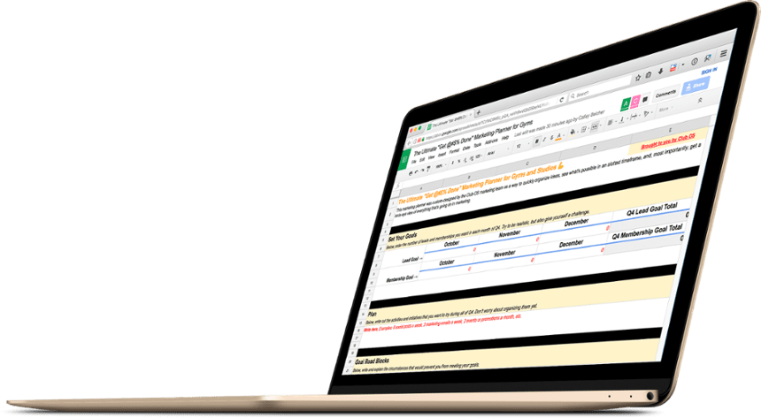 marketing planner for gym businesses